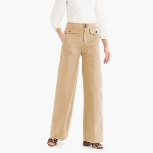 J. Crew Officer Patch Pocket Wide Leg Tan Pants